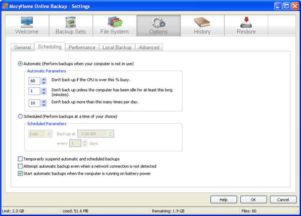 MozyHome Online Backup Settings