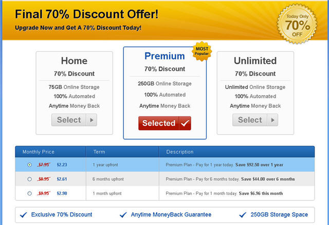 mypcbackup premium 250gb plan pricing