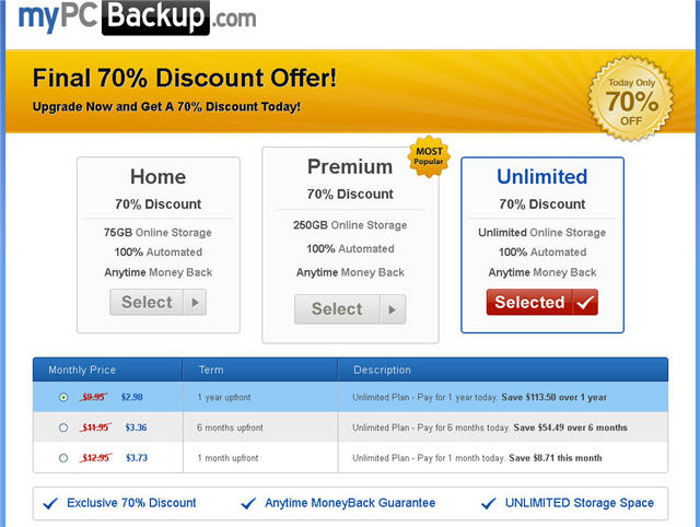 mypcbackup unlimited cloud storage pricing plan